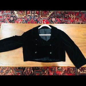 Vintage Cropped black Velvet Jacket